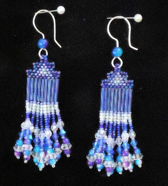 Beaded Earrings, Fine Jewelry Blue And Violet Dangling, With Swarovski Crystals