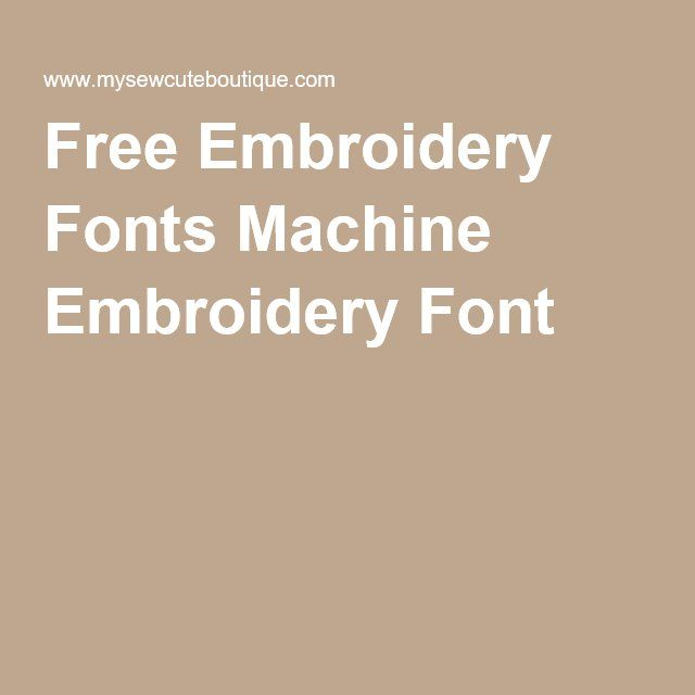 Free Font Machine Embroidery Designs
