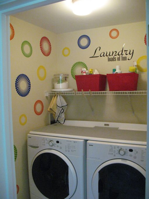 Laundry Room Loads Of Fun Used Funky Circle Decals To Decorate My It Helps Make Bathroom