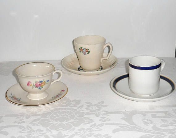 Vintage Demitasse Cup and Saucers/Vintage Mintons/Vintage Pickard/Vintage Schammels Demitase Cups with Matching Saucers/Tiny Drinkware