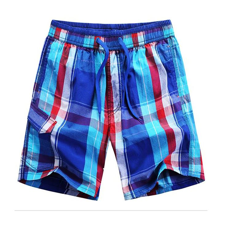 Top quality 2017 summer men plaid shorts classic design beach shorts five cotton short pants quick dry sport swimwear trunks