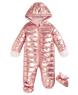 322b980b First Impressions Baby Girls Metallic Puffer Snowsuit, Created for Macy's -  Gold 3-6 months