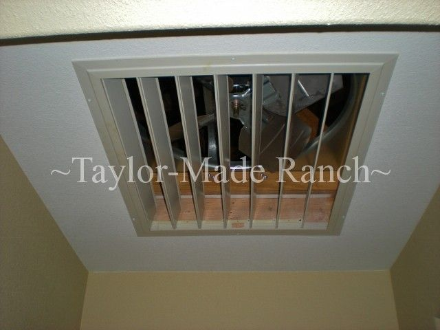 Our whole-house attic fan cools the house quickly w/o using an expensive air conditioner pulling cooler air from outside throughout the house #TaylorMadeRanch
