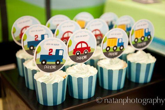cute boy cupcake toppers: Birdies Prints, Circles Cupcakes Toppers, Boys Cupcakes, Parties Circles Cupcakes, Boys Birthday Cupcakes, 2Nd Birthday, Trucks Parties, Cars And Trucks, Cars Trucks Birthday Parties