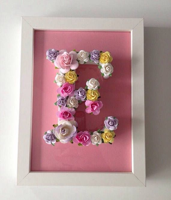 Custom Floral Letter Frame Nursery Decor Baby Shower Gift