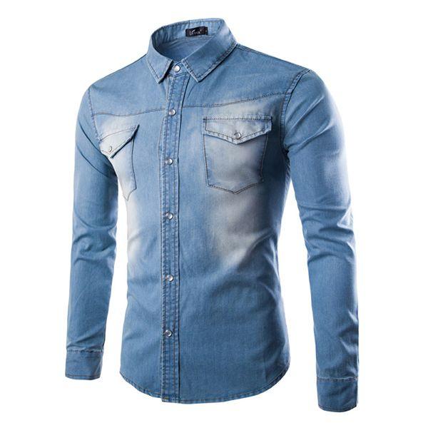 Moda Uomo manica lunga autunno personalità denim girano-giù la camicia casuale