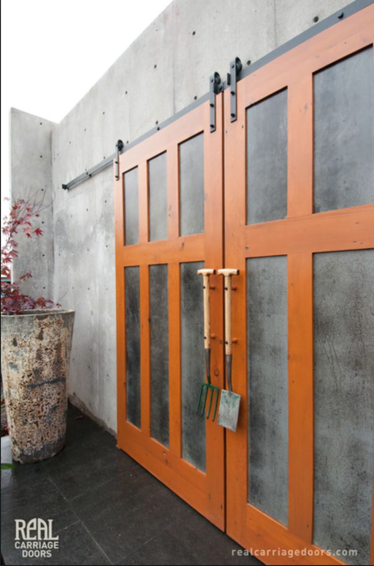 Exterior sliding barn doors - Great Exterior Doors But Skip The Tool Handles Sliding Barn