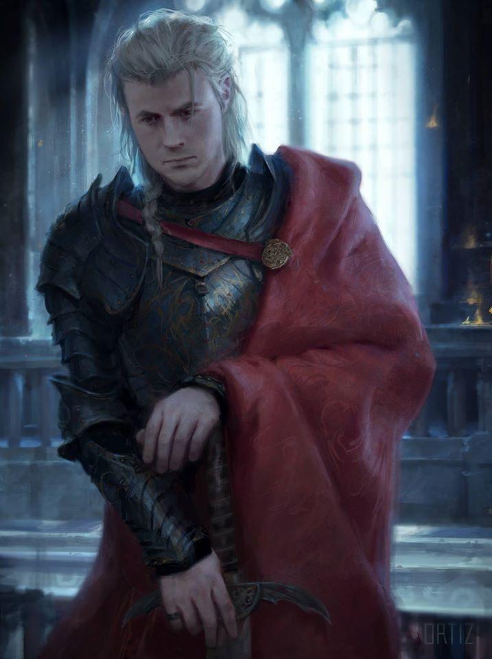 Rhaegar Targaryen  Príncipe de Rocadragón de nacimiento, hijo de Aerys II Targaryen y de la reina Rhaella, su hermana esposa (ilustración de Karla Ortiz).