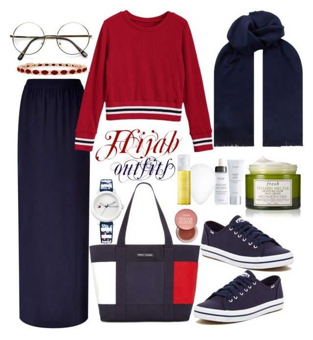 """#Hijab_outfits #Tommy_Hilfiger"" by mennah-ibrahim on Polyvore featuring Escada Sport, Tommy Hilfiger, Keds, BOSS Hugo Boss, Fresh and Julep"