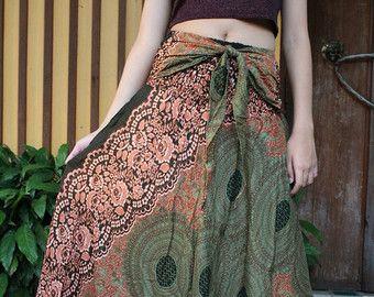 Bohemien gonna zingaresca hippy stile fioritura una dimensione adatta verde