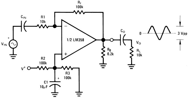 low power dual operational amplifiers circuit