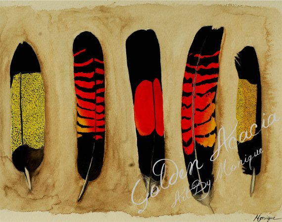Black Cockatoo Feathers: Red and Yellow tailed, Watercolour Painting of five tail feathers of the large and majestic Australian native bird on Etsy, $30.00 AUD