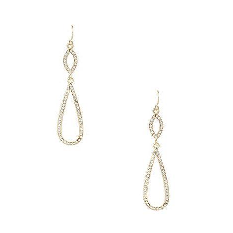 The Collection Gold teardrop pave diamante drop earrings- at Debenhams.com