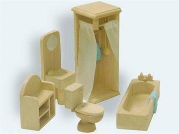 Badeværelsesmøbler til dukkehus 4-12cm 5 dele i træ