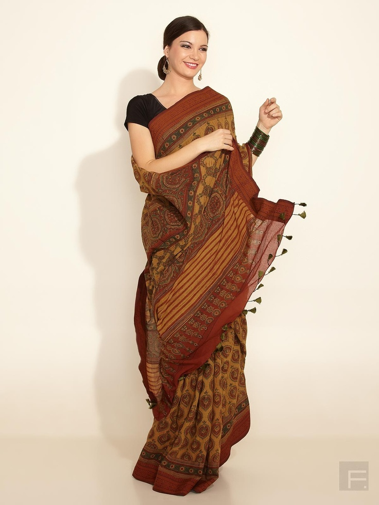 Ethnic Fashion Online Store: FabIndia // Cotton Mull Sari With Ajrakh Print