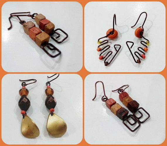 Long Boho Rustic Cute Weird Earrings Wood Brown by CopperByCroopa