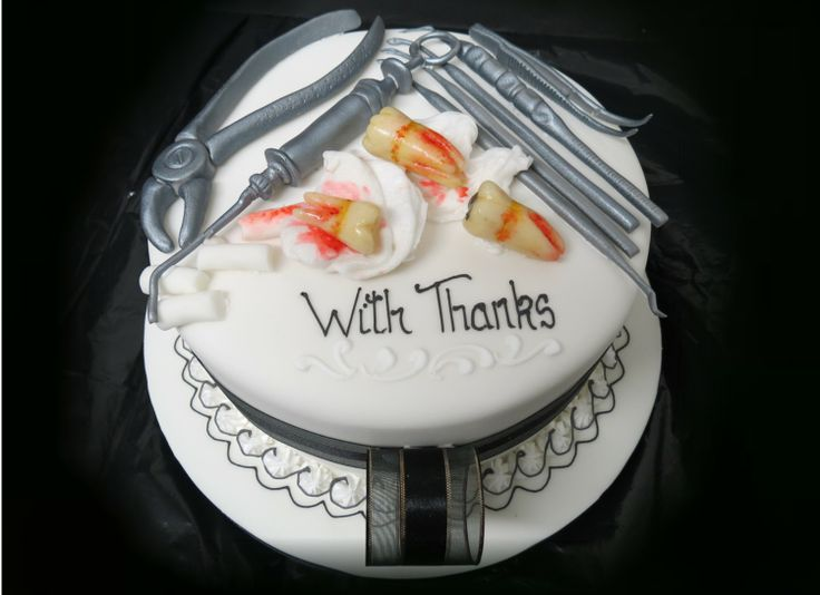 Cake for a Dentist, with extracted teeth and dental tools