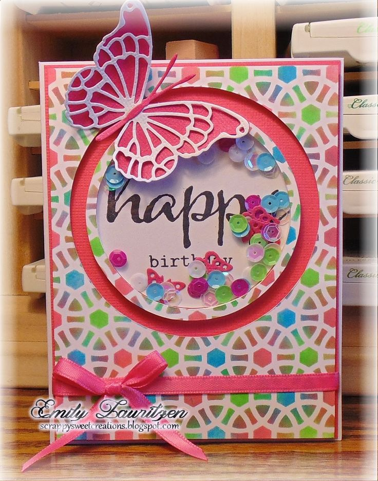 Scrappy Sweet Creations: Butterfly Shaker Card - Memory Box Butterfly/Winnie & Walter Stamps