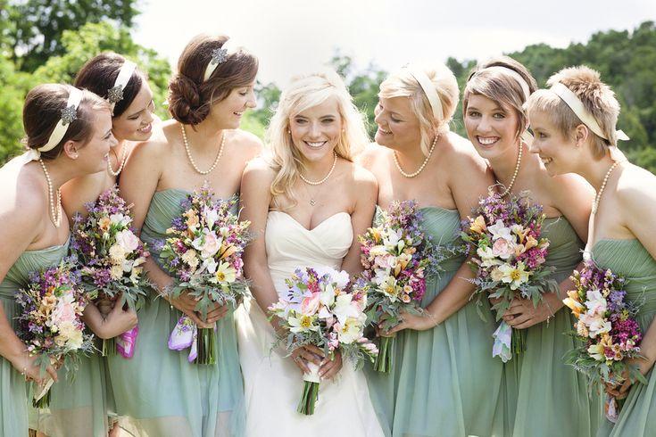 Sage green bridesmaids.