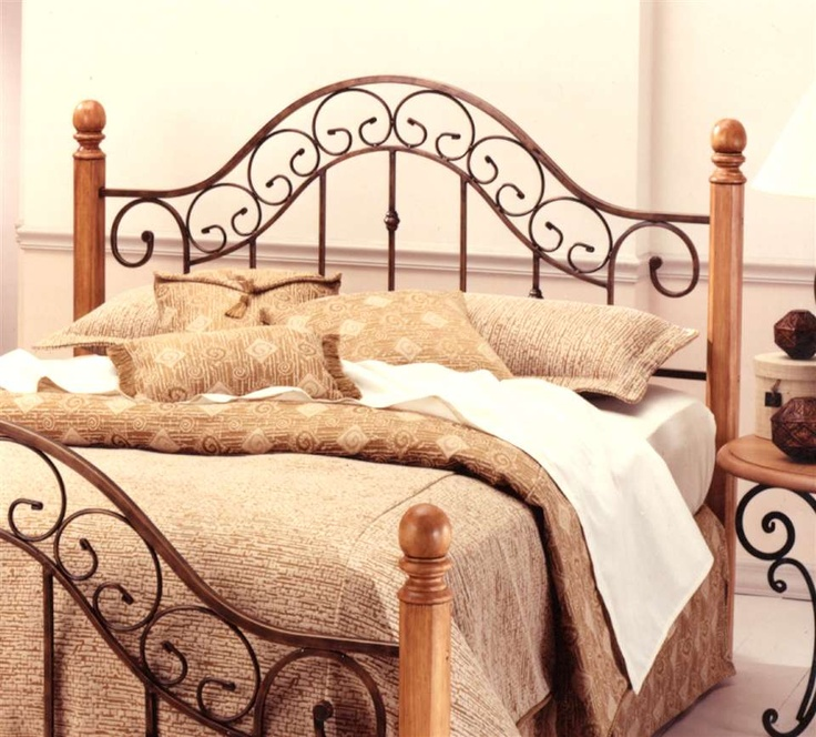 Wood and wrought iron bed- matching bedside tables