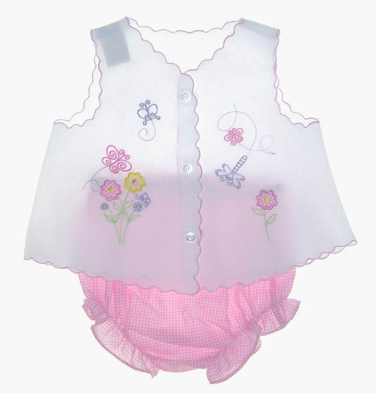 Vintage White Diaper Set with Embroidered Flowers and Pink Gingham Diaper Cover $30.00