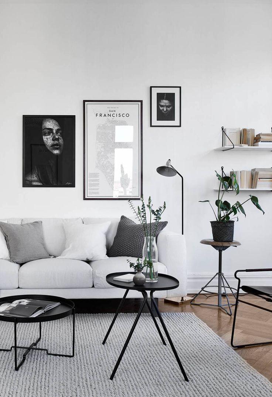 decor escandinava - sala preto e branco