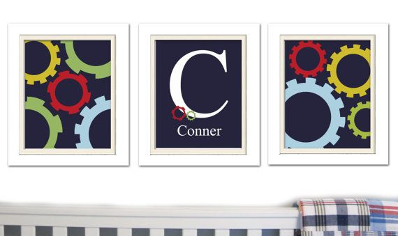 Nursery Art Blue and Red Nursery Madras Nursery Set by ChicWallArt, $32.00