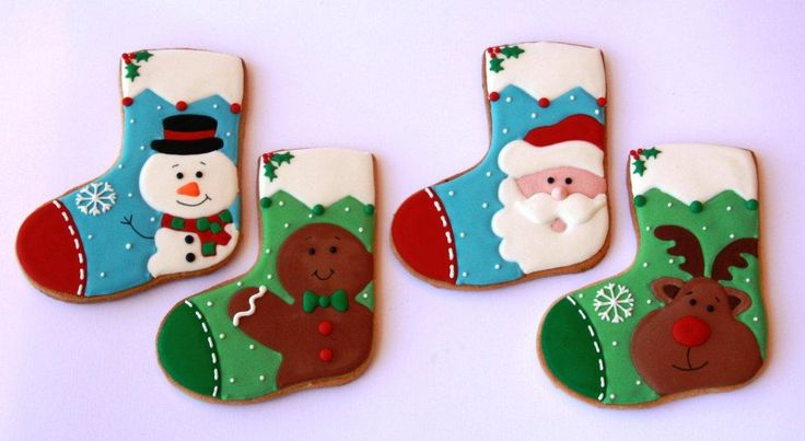 Snowman, Gingerbread Man, Santa & Rudolph Stocking Christmas Cookies