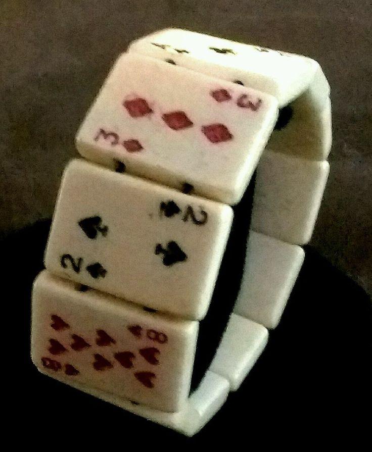 Vintage Bakelite Bracelet Playing Cards Stretch Bangle Beads #vintagebakelite