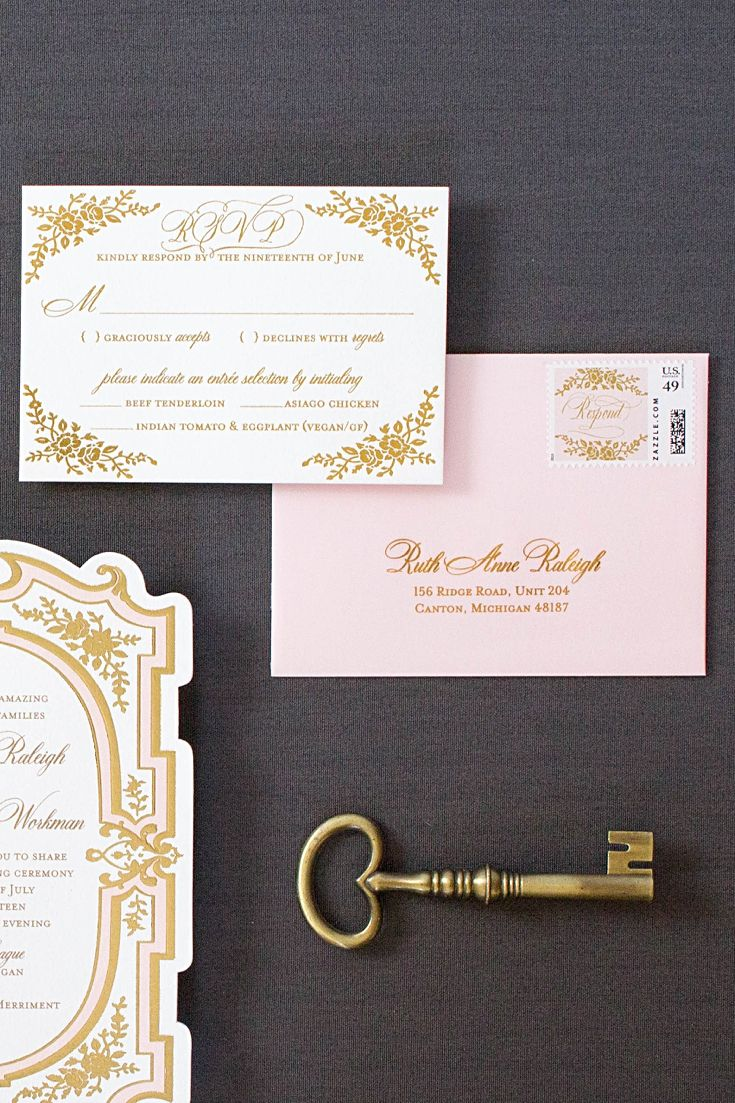 40 best BLUSH AND GOLD WEDDING INVITATIONS images on Pinterest ...