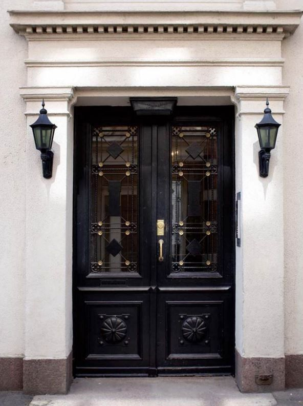 Beautiful Black Double Doors Make This Entryway Feel Regal And Elegant    Coco Cozy