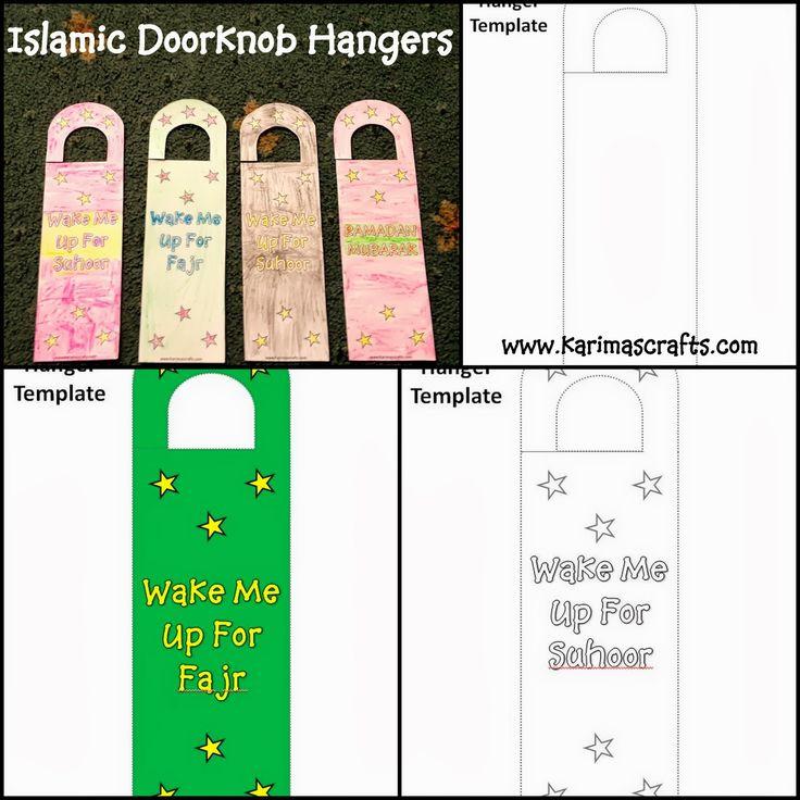 Islamic Doorknob Hangers- Ramadan crafts. Wake me up for Fajr! So stinkin cute!