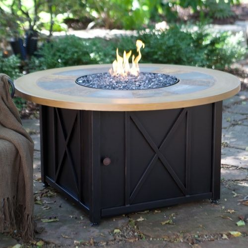 uniflame round slate and faux wood lp gas firebowl with