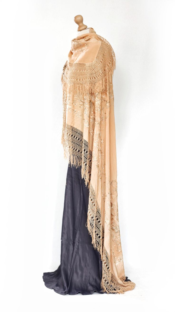 Vintage 1920's/1930's embroidered piano shawl styled as a very chic cape. Perfect for a vintage inspired bridal look