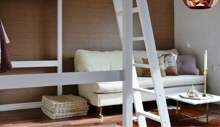 Livingroom interior design loftsäng Ladder stege compact living