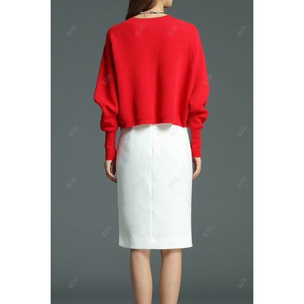 Batwing Sweater ($80) ❤ liked on Polyvore featuring tops, sweaters, red batwing top, red sweater, red top, batwing sweater and batwing tops