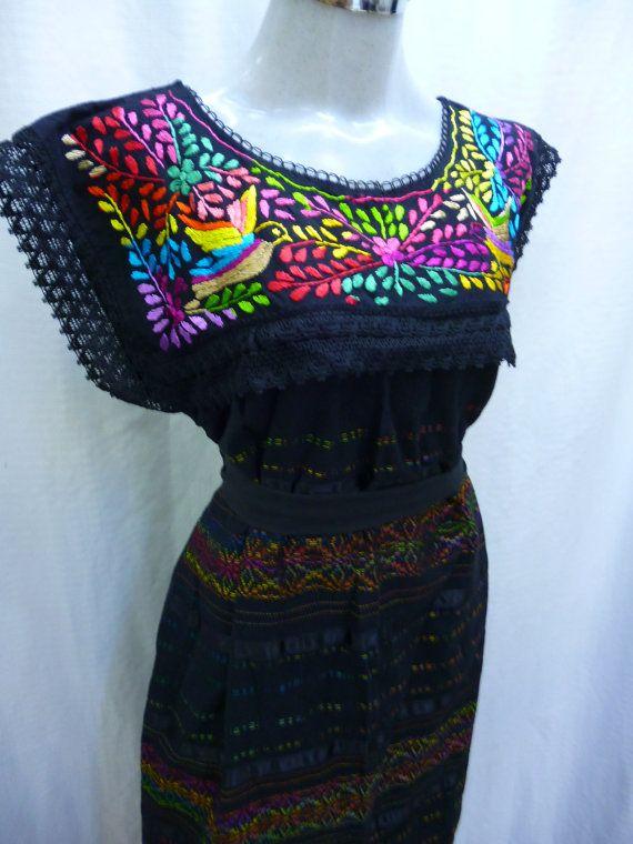 Mexique broder robe robe brodée mexicaine 100 % coton par ArteAlva