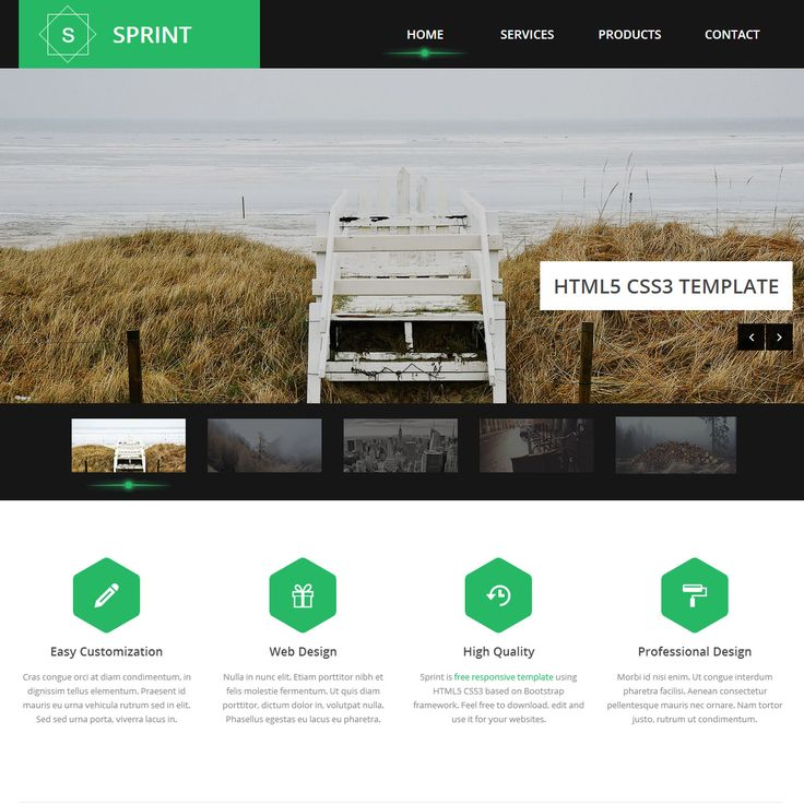 White Html Templates Sprint is free HTML5 template on responsive bootstrap framework. Green, black and white colors ...