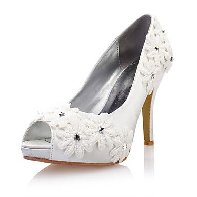 Satin/Lace Women's Wedding Flat Heel Pumps Flats Shoes With Rhinestone – USD $ 36.79 - I COULD MAKE THESE!