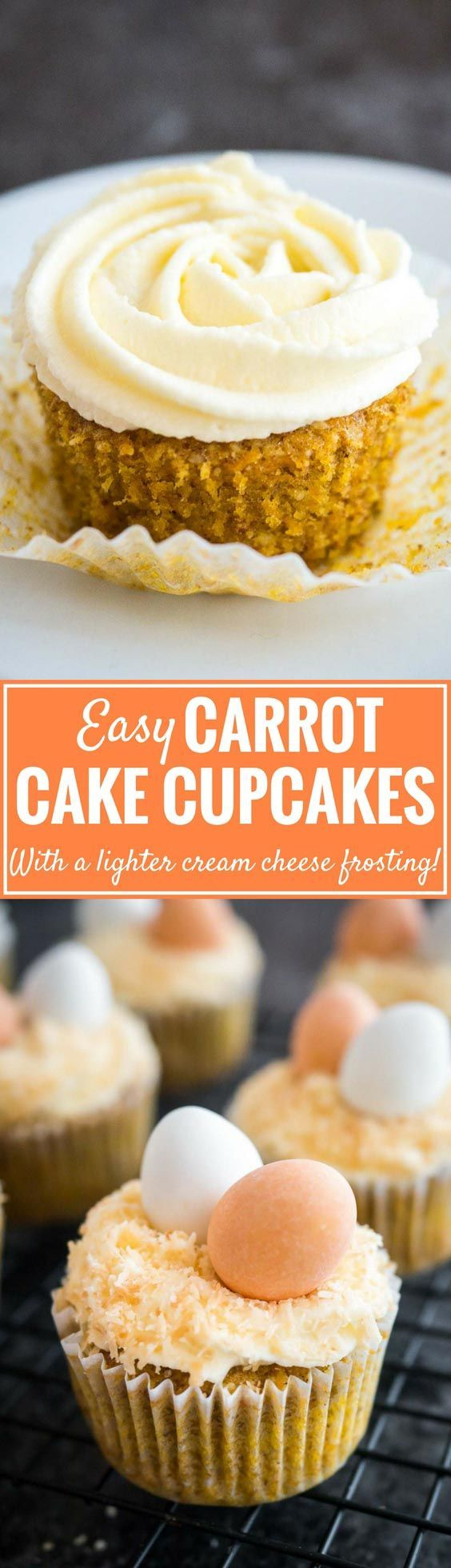 These Carrot Cake Cupcakes with cream cheese frosting are perfect for Easter! They're super moist, made with just the right amount of spice, and the not-too-sweet frosting is heavenly. An easy from scratch carrot cupcake recipe that can be made ahead and comes with a cute Easter decorating idea. Perfect for brunch or dessert! #carrotcupcakes #carrotcakecupcakes #cupcakes #Easter #CreamCheeseFrosting #baking #EasterRecipes