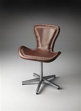 industrial chic leather metal accent chair