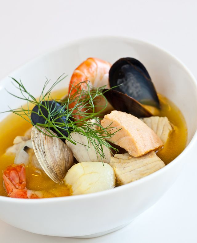 This Mediterranean seafood stew's uniqueness comes from the herb and spice combination of orange peel, fennel and saffron, which is what gives the soup its deep golden color.