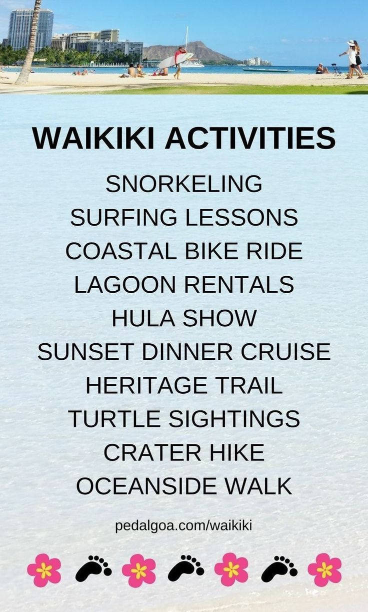 Best Waikiki activities list. Things to do in Waikiki Beach! Planning Hawaii itinerary, Waikiki in one week: Oahu Hawaii vacation tips, hotel ideas. Snorkeling, surfing lessons, bike rental, Hilton lagoon, free hula show, sunset dinner cruise tours, turtles, near cheap crater hike. With kids, families. Shopping, food, eating, restaurants! Bucket list destinations, honeymoon on a budget. What to wear in Hawaii, what to pack for Hawaii packing list. Waikiki Travel Guide. #hawaii #oahu #waikiki