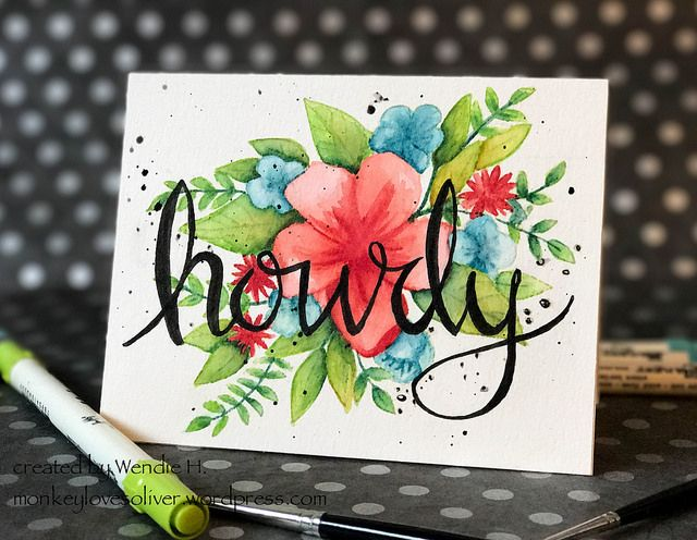 """monkey loves oliver / featuring Hello Lovely stamp set from Concord & 9th with a handlettered """"howdy"""". Painted with Distress Markers."""