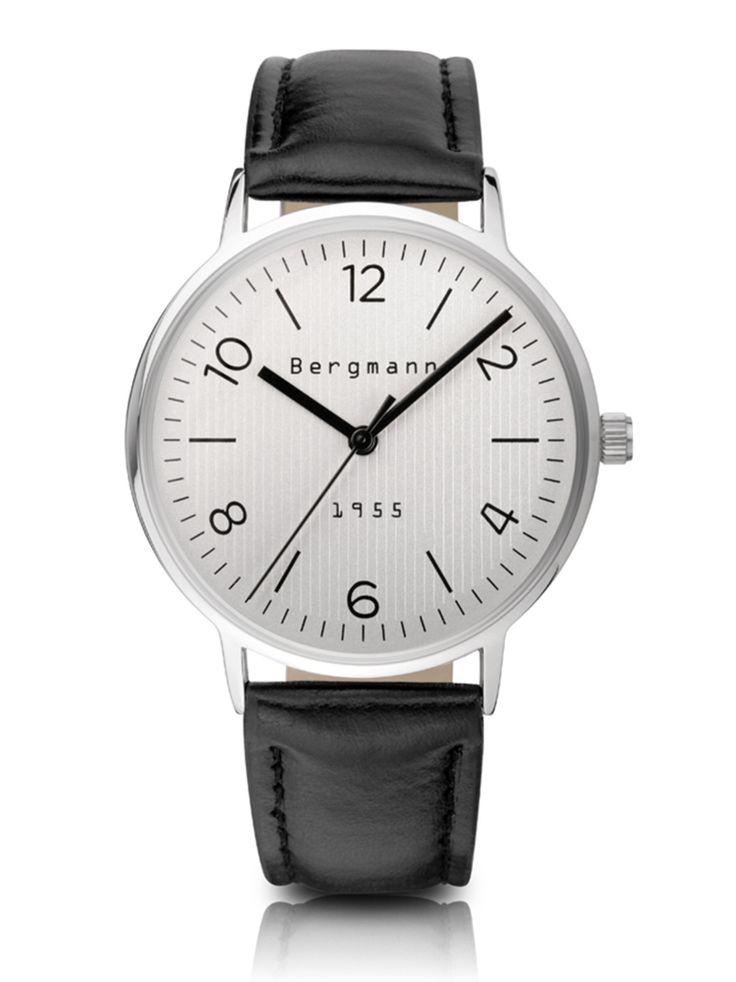 62.40$  Buy now - http://alicso.worldwells.pw/go.php?t=1605968643 - Luxury Brand Bergmann Classic Bauhaus style Fashion Watch Men Women Quartz Watches Leather Ribbed Silver Dial Reloj Hombre 62.40$
