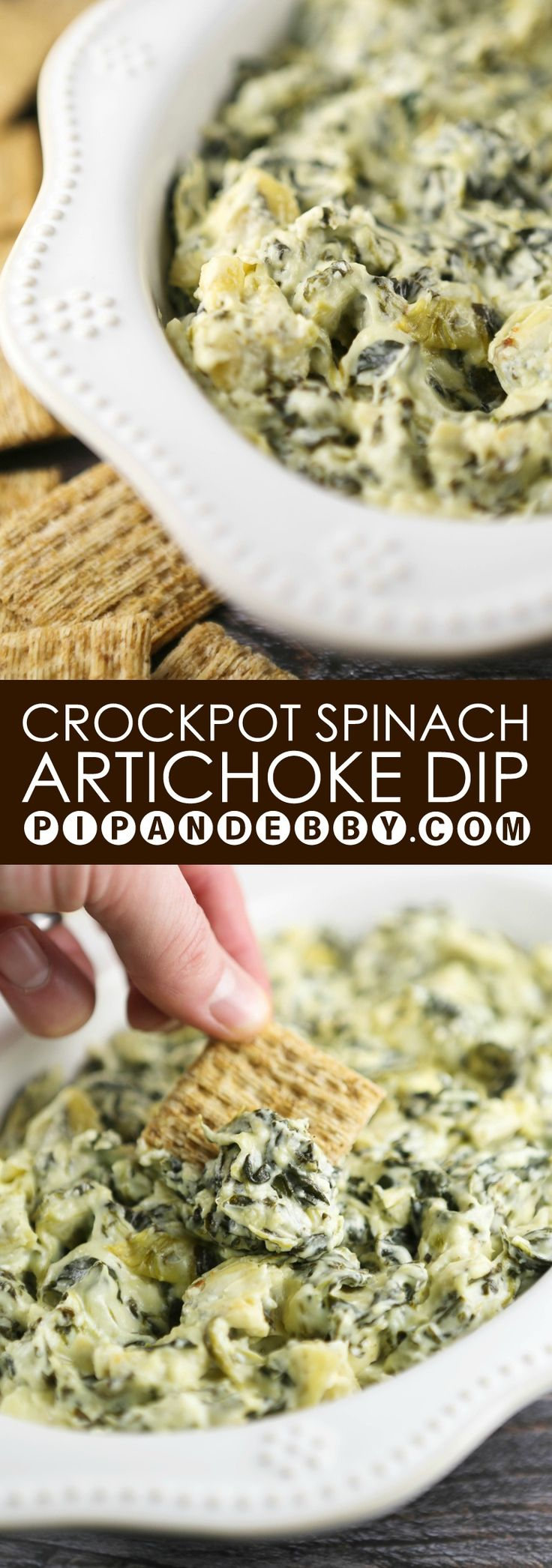 Crockpot Spinach Artichoke Dip | Best party food EVER. This stuff is like crack.