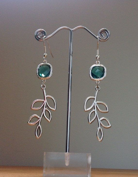 silver branch / leaf pendant and emerald green by PetalJewels