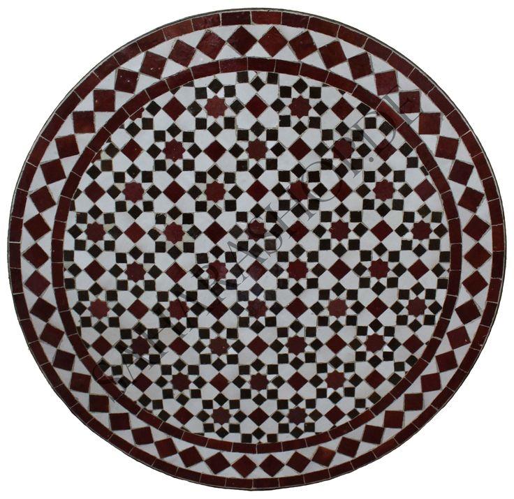 Orientalischer Mosaiktisch Rund 60 cm Tarsia Bordeaux