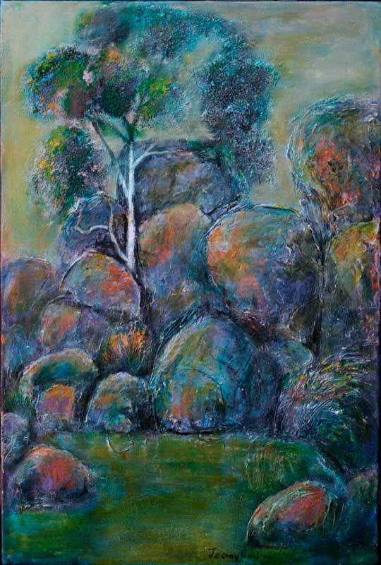 'A place without time' oil on canvas 61x41 cms $1950  As the Toodyay Road winds its way down the escarpment into the coastal plains, on the left there is a hidden valley where huge boulders and trees have an uncanny presence.  It is a place to stop and to listen to the silence. #painting #perth #jeremyholton #Australia #landscape http://www.jeremyholton.com http://thailand-painting-holidays.com https://plus.google.com/u/0/104359568476968412848?rel=author