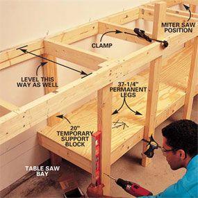 Garage work bench frame